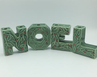 NOEL Candleholders /Lipper & Mann Creations Japan/Ceramic Noel/Christmas Collectibles/Vintage Noel/Vintage Xmas Decoration/Mid Century Xmas