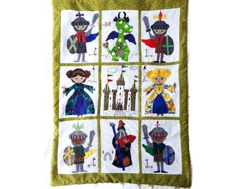 Custom Baby Quilt - Camelot, Medieval Knights, Princess, Dragon and Wizard