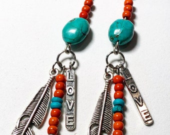 Boho Turquoise with orange and feather