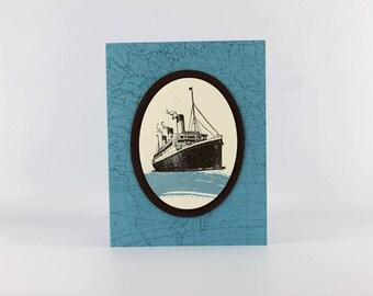 Nautical Theme Card - Blank Card - Hand Stamped Card - Stampin Up Card - Ship Card - Traveler Card - Masculine Card - Blank Card