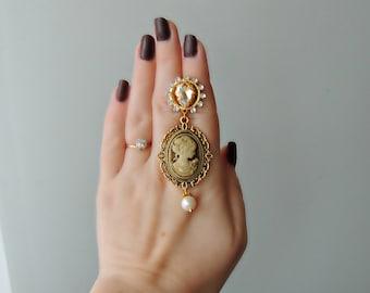 Earrings Dolce  style - Cameo beige
