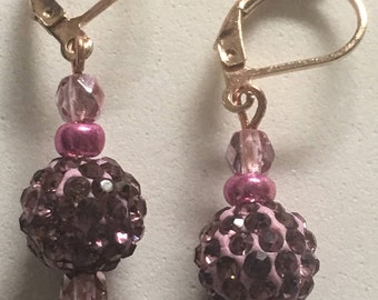 Pave' Rose Pink Ball Drop Earrings / Pave' Ball Earrings / Pave' Pink Drop Earrings / Pave' Pink Crystal Drop Earrings