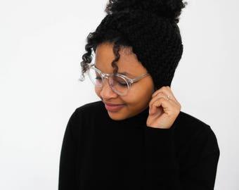 Black headband, wool, hand knitted