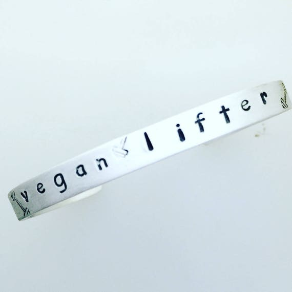 Vegan Lifter Cuff Bracelet-Vegan workout-Vegan Fitness-Plant Based Athlete-Plant Strong-Vegan Bracelet-Vegan Jewelry-Vegan Gift-Workout