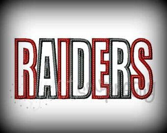Raiders Word Embroidery Applique Design