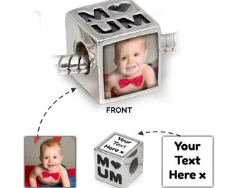 Picture Bead | Personalised Pandora in 925 Silver | I Love Mum Message | Pandora Bead Compatible - Personalised Jewellery