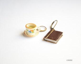 Book and Tea Earrings, Book Earrings, Book Lover Jewelry, Tea Cup Earrings, Tea and Book Earrings, Polymer Clay Bookworm Jewelry, Mini Book