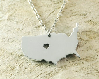 the United States necklace 925 sterling silver necklace heart necklace State Necklace State Charm Map necklace Map Jewelry