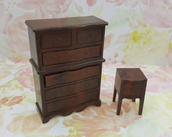 Renwal Highboy  Chiffarobe  Dresser and Nightstand  Drawers Bedroom  Doll House Toy Brown Hard Plastic Drawers open