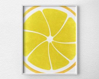 Lemon Print, Citrus Print, Citrus Decor, Fruit Kitchen Art, Kitchen Decor, Kitchen Poster, Food Art, Kitchen Print, Yellow Art, 0087