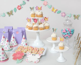 Butterfly Garden 24 Guest Complete Party Set | Party Package | Birthday Party Decoration | Banner, Garland, Cupcake Topper, Party hat, Cards