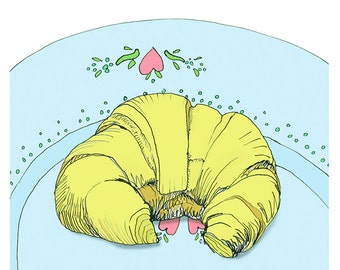 Croissant - Giclee greeting card, blank inside