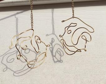 Gold Chain Drop Face Earrings