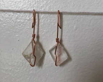 Mini Clear Quartz Rhombus Earrings
