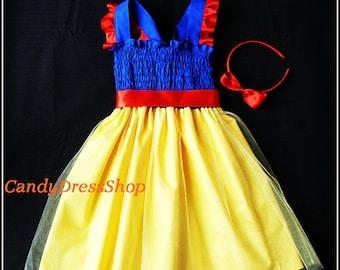 Snow White Inspired Dress, Girls Snow White Costume Dress, Yellow Princess Dress, Snow White party dress, Dress and matching headband
