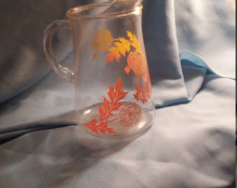 Libbey vintage clear pitcher with orange and yellow fall decor, dandelion pitcher,