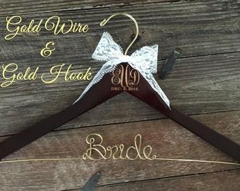 Wedding Monogram Hanger, Bride Hanger, Engraved Bridal Hanger, Monogram Wedding Hanger, Rustic Wedding, Gold Wire Hanger, Monogram Gift