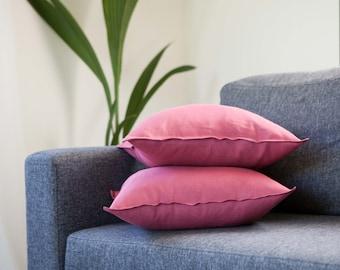 Pink pillows set of 2, decorative pillows set for sofa, accent pillows
