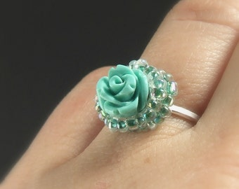 Turquoise rose silver engagement ring, romantic flower women jewelry, handmade sterling silver adjustable ring with blue resin rose