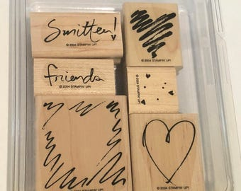 """Stampin' Up! """"Smitten"""" wood mounted rubber stamps (6)"""