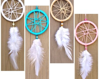 Lot of 10, 20, 30, 40 or 50 Customized Mini 2 in Thread & Glass Geo Dreamcatcher Boho unique textile party favor hanging decoration
