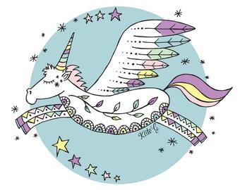 UNICORN - Unicorn Kids Art Print - Unicorn Art - Unicorn Wall Art - Unicorn Print - Kid's Unicorn Print - Kids Art Print (SKU:KG0003)