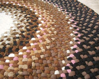Made To Order Custom Handmade Hand Braided Round Recycled Rug in shades of brown
