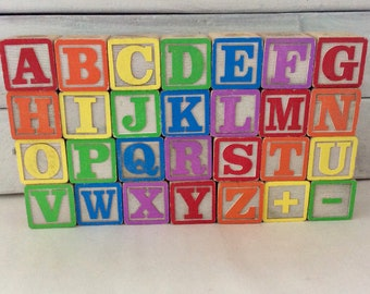 Wooden Blocks- 28 ABC Blocks - picture blocks -  toddler toys - UpCycle Supply - Nursery Decor  - baby shower - Classic Children