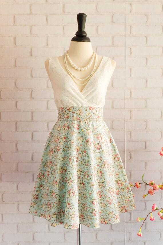 Vintage-Prom Kleid weiß weißer Spitzenkleid blaugrün Kleid