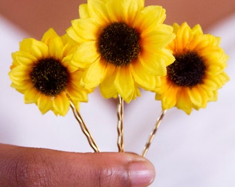 Set of 3 Golden Yellow Sunflower Bobbies // Small Bright Yellow Hair Bows // Natural Beauty // Great for Natural Hair // Vintage Retro Pins