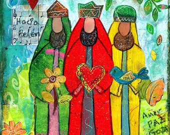 Three Wise Men 5x5 Blank Greeting Card by Elizabeth Claire
