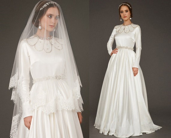 RAISA / Long Sleeve Wedding Dress Lace Wedding Ceremony
