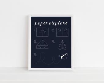 Paper Airplane Print | Airplane Art | Plane Art | Printable Art | Nursery Art | Gallery Wall Art | Wall Art | Instant Download