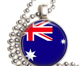 Australia Flag Art Pendant, Earrings and/or Keychain, Round Photo Silver and Resin Charm Jewelry, Flag Earrings, Flag Key Fob