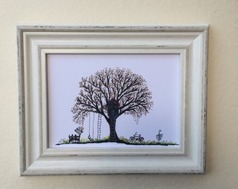 Print of my oringinal paint on paper size 13*18 CM. Tree. art paper, art, wall art. home decor.