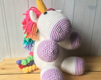 Fluffy Purple Rainbow Unicorn