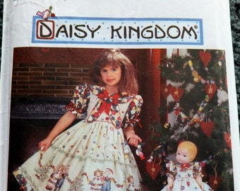 Simplicity 7282 Daisy Kingdom Dress in Sizes 5,6,7,8 with doll dress pattern (uncut)