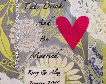 mixed media wedding wine label