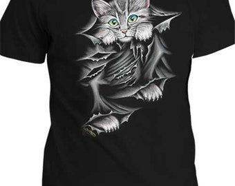 hand painted t shirts . cat cutting t shirt