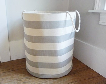 "Extra Large Hamper, Fabric Storage Laundry Basket, Coastal Grey Stripe Fabric Organizer, Toy or Nursery Basket, Storage Bin - 20"" Tall"