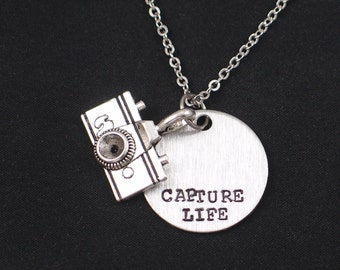 Capture Life necklace, sterling silver filled, hand stamped necklace with camera charm, photographer camera quotes, camera charm necklace