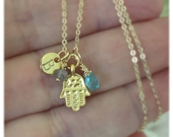 Hamsa Gold Filled Necklace, Hand of Fatima Gold Filled Necklace with Apatite and Labradorite Gemstones, Personalized