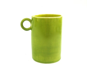 festive hand built porcelain cup ...  chartreuse and orange