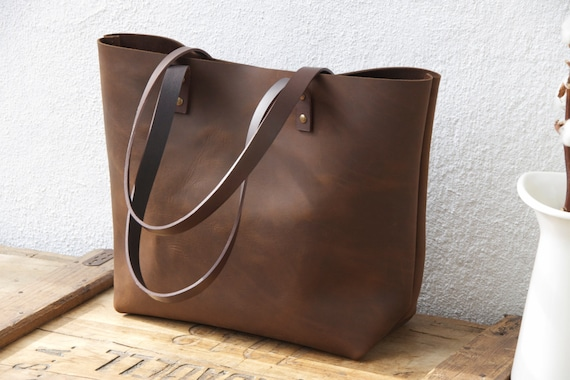 Large Brown Leather Tote Bag Sturdy Premium Waxed Leather