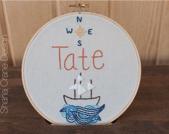 Ship on the Waves . Custom Embroidery Hoop