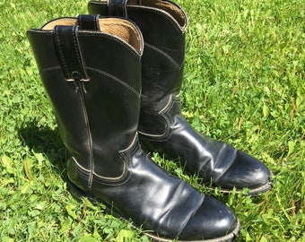 Justin Boots - Size 7.5 B Womens Cowboy Boots - Western Boots - Vintage Clothing - Leather Boots - Biker Boots - Black - Diamond J -