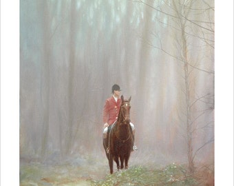 Misty Huntsman. Limited Edition Equestrian Print. Personally signed and numbered by award Winning Professional artist JOHN SILVER. jsfa016