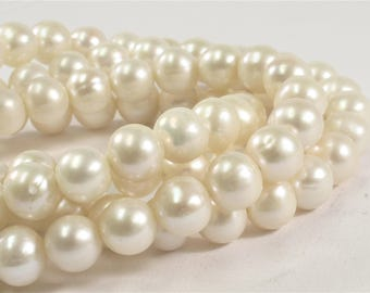9-9.5 mm AA Natural White Potato Freshwater Pearls, Genuine Natural Pearl Beads, High Luster White Cultured Freshwater Pearls (227-PW0995)