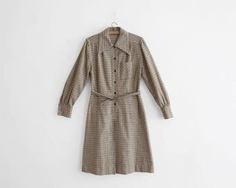1970s Wool Flannel Check dress - Made in France
