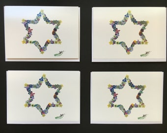 "Set of 4  Cards - Large ""Jewish Star"" Card Prints"